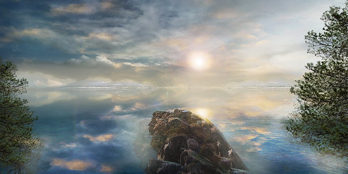 Matte painting sea landscape