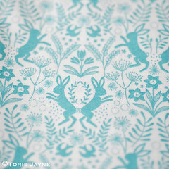'Little Hares Blue' fabric from Elephant in my Handbag.com
