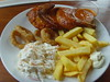 Peri-Peri Half Chicken, Coleslaw, Fries and Onion Rings