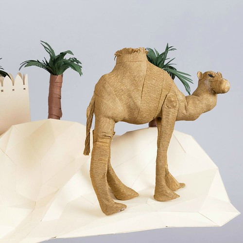 Paper Sculpture Arabian Camel in the Desert by Julianna Szabo
