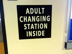 Adult Change Tables Inside sign, toilet, Phoneix Sky Harbor Airport, Arizona, USA