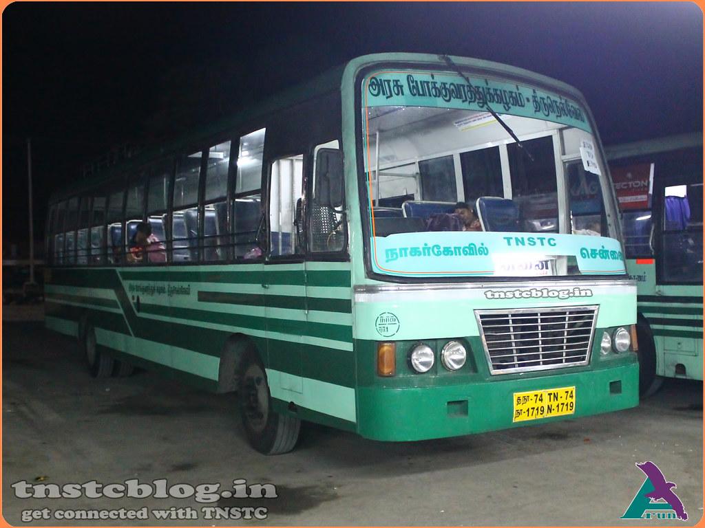 TN-74N-1719 of Ranithootam 1 Depot Route : Nagercoil - Chennai via Tirunelveli, Madurai, Trichy, Villupuram