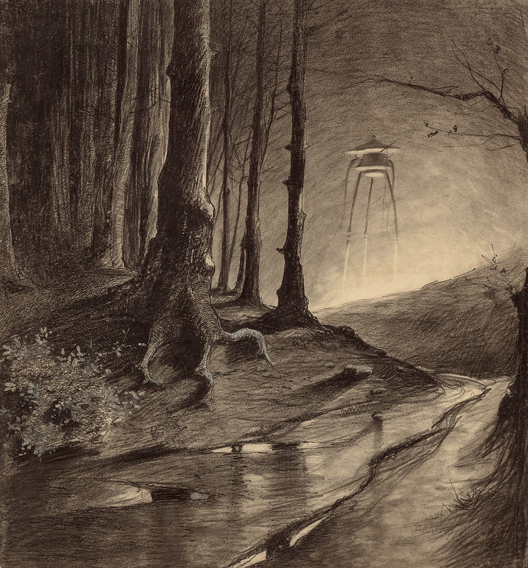 "HENRIQUE ALVIM CORRÊA - Martian in the Forest, from The War of the Worlds, Belgium edition, 1906(illustration is featured in Book I- The Coming of the Martians, Chapter IX- ""The Fighting Begins,"")"