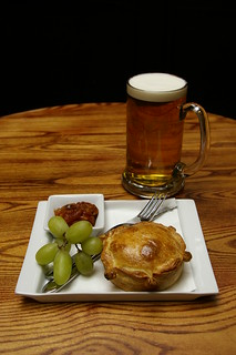 Veggie pie and a pint