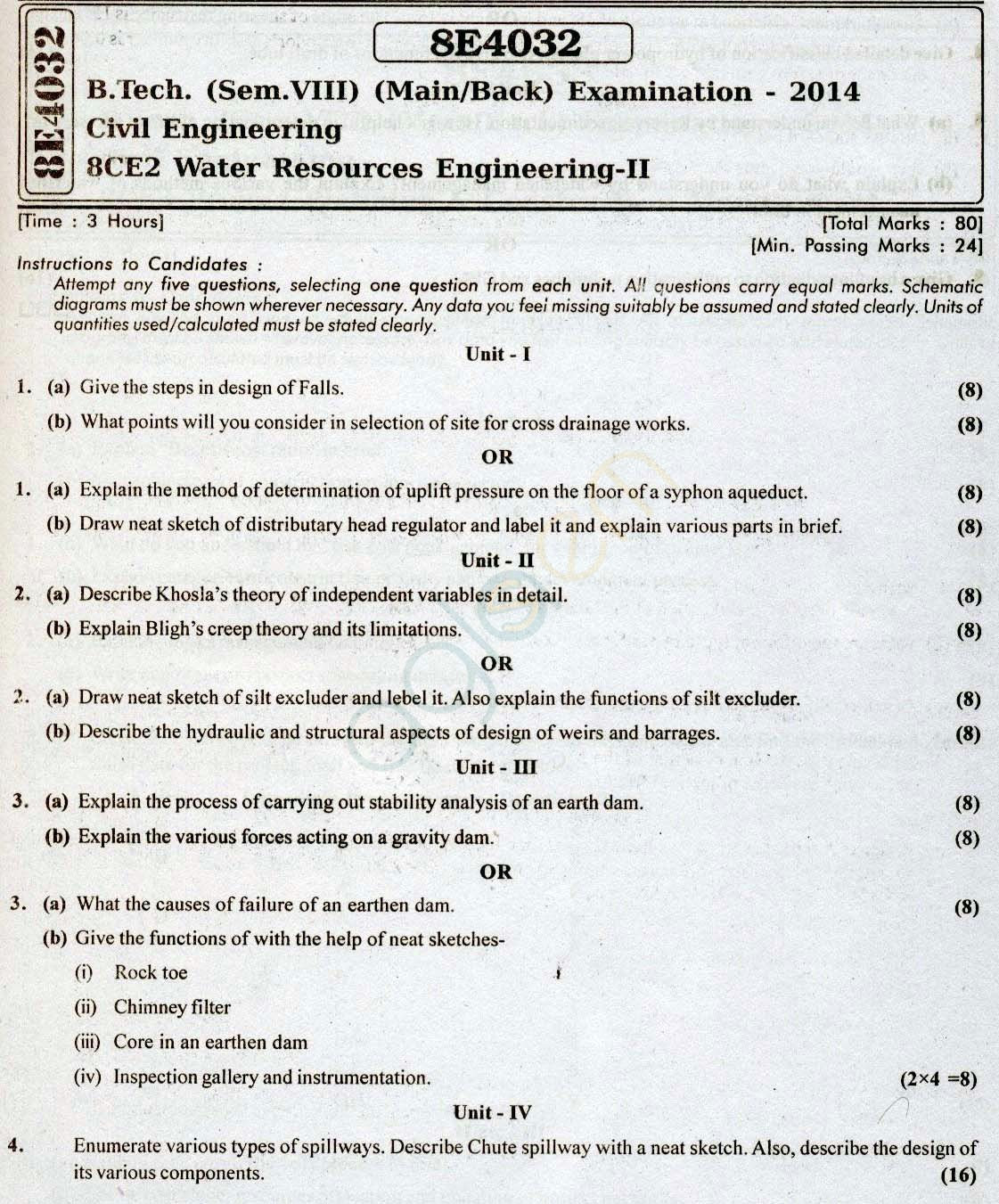 RTU: Question Papers 2014 - 8 Semester - CE - 8E4032