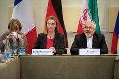 European Union High Representative for Foreign Affairs Federica Mogherini and Iranian Foreign Minister Javad Zarif sit together in Lausanne, Switzerland, on March 31, 2015, before representatives from the United States, Germany, China, France, the United Kingdom, Russia, and the E.U. resume direct negotiations with Iranian officials about the future of their country's nuclear program. [State Department photo/ Public Domain]