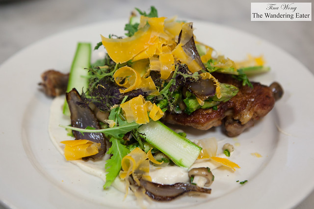 Skillet Roasted Chicken Thighs with Mimolette, Asparagus & Tiny Mushrooms by Chef Justin Smillie