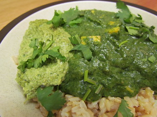 Saag 'Paneer'; Cilantro-Mint Chutney with Coconut Milk