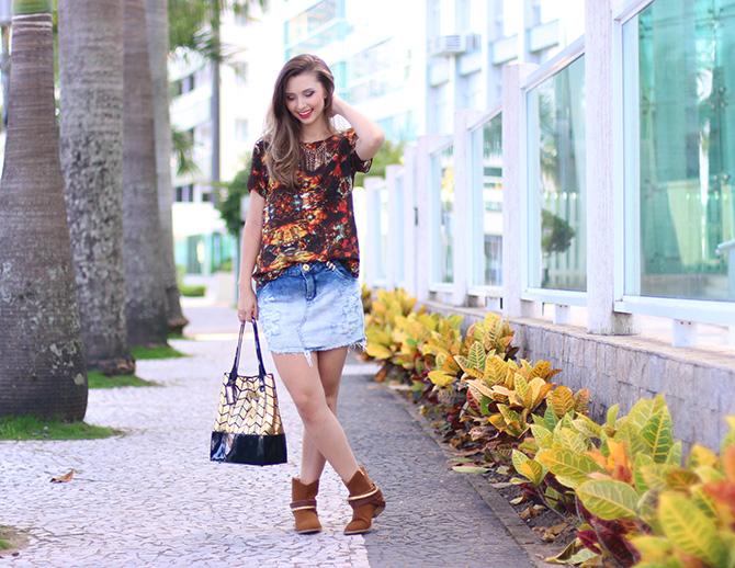 01-look do dia saia jeans e bota western petite jolie