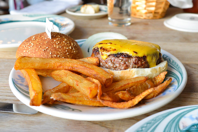 Luger Burger, Over 1/2 lb, on a Bun with French Fries and Cheese