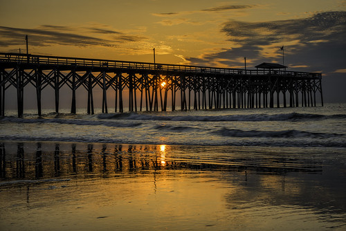 ocean sea usa sun reflection sc water clouds sunrise reflections pier nikon waves southcarolina atlanticocean d800 pawleysisland nikond800 pawleysislandpier