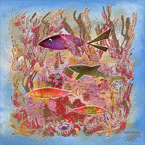 Painted image of an underwater scene