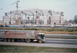 Beogradska arena, mart 1995 god. (Kombank arena) u izgradnji.