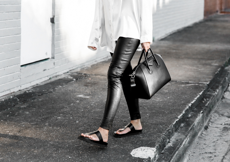 off duty street style modern legacy fashion blog Givenchy Antigona medium monochrome leather pants leggings transitional transseasonal staples silk shirt Alexander Wang slide sandals  (1 of 1)
