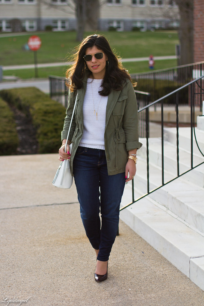 utility jacket, white sweater, denim, pumps.jpg