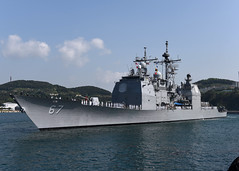 USS Shiloh (CG 67) approaches the pier in Busan. (U.S. Navy/MC1 Abraham Essenmacher)