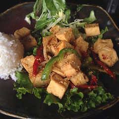 Celebrating #EarthDay with some Salt and Pepper Tofu at Khan's Cave. The lunch menu offers a vegetarian section with vegan options clearly marked :) #vegan #vegansd #vegansofig #vegansandiego #sdfoodie #sandiego #sandiegoeats #saltandpeppertofu #whatvegan