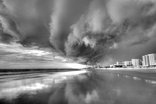 Inland Storm Meets The Atlantic at New Smyrna Beach (B&W)