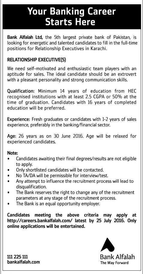 Bank Alfalah Relationship Executives Required