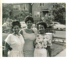 Auntie Bernice, Mrs. Boyce, Mom (L-R), Cookout, circa 1960