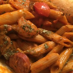 Turkey Sausage & Shrimp, Vodka Sauce Penne Pasta w/ tomato, basil, and mushrooms. Bon Appetite! :panda_face::registered: #bonappetite #pasta #eatwell #foodnetwork #delicious #fresh #creativity #classic #dmv #diy #doitbig #exclusive #food #fashion #fitness