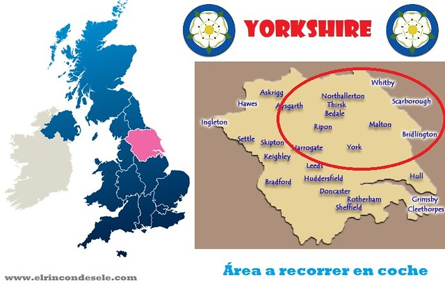 Mapa de Yorkshire (Inglaterra)