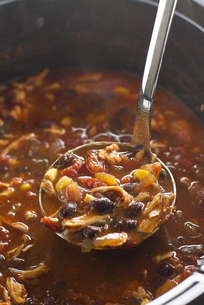 Chicken Enchilada Soup (Slow Cooker) easy to make and so flavorful! #enchiladasoup #slowcooker #slowcookersoup #crockpot | Littlespicejar.com