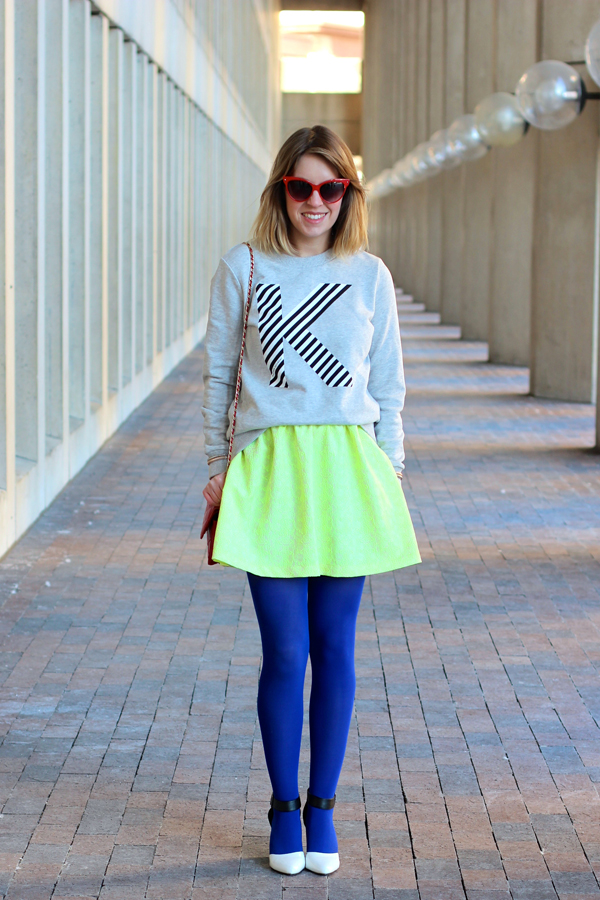 Boston style blogger, style tab, how to wear a neon skirt