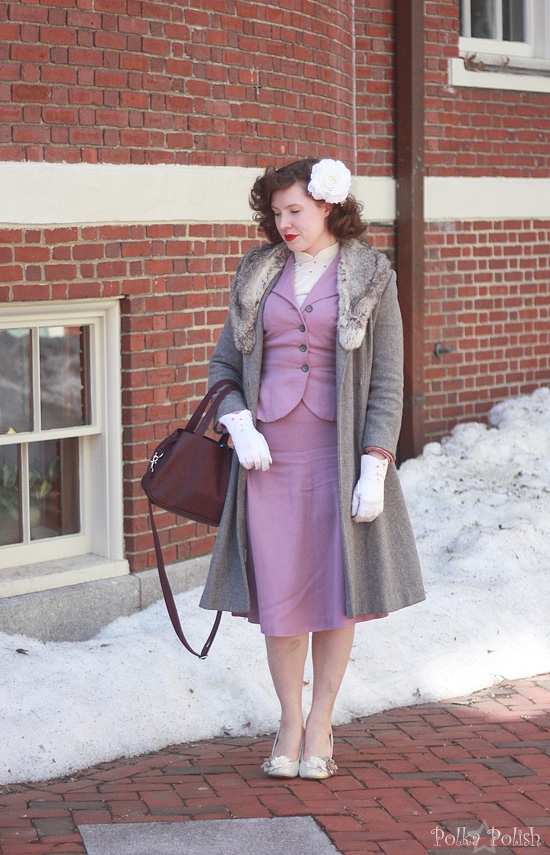 Lent V outfit with purple mid century suit and rabbit trimmed coat