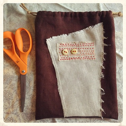 Today's stitching and sewing: one-of-a-kind bags made with remnants and vintage buttons #bonniesennott #sewing #stitch #embroidery #wabisabi #drawstringbags #etsy #projectbags #diy #creativereuse