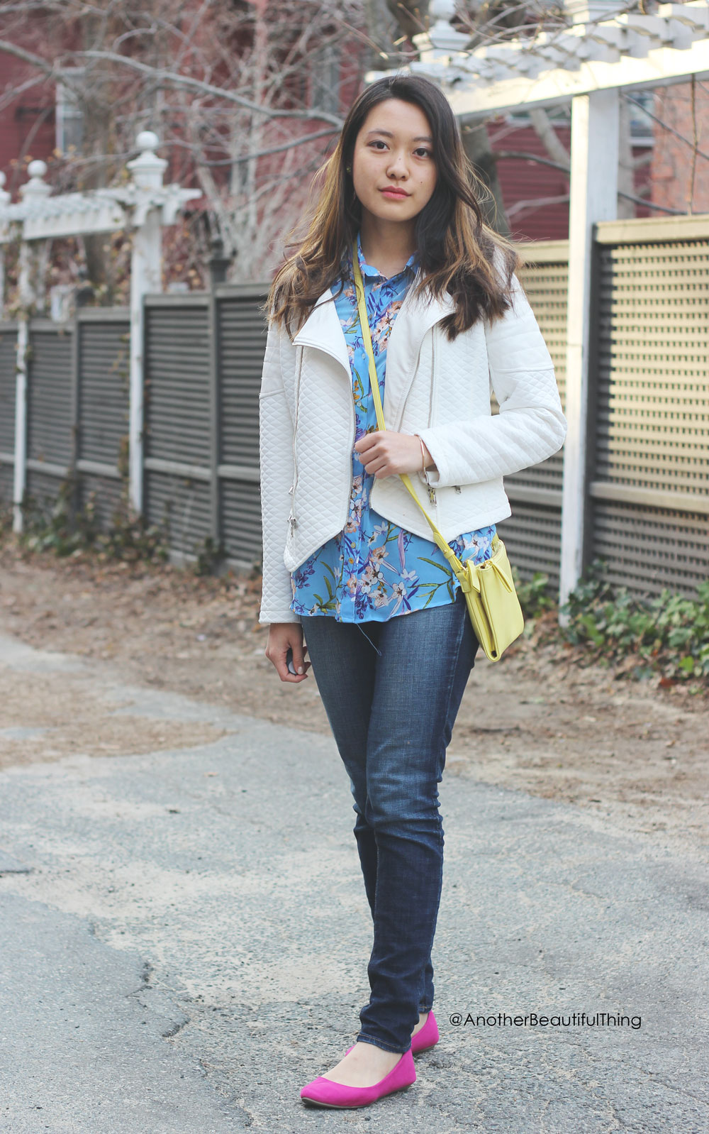 Florals and brights plus a white faux leather jacket