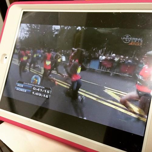 Watching the Boston Marathon on my iPad this morning! #cheerboston