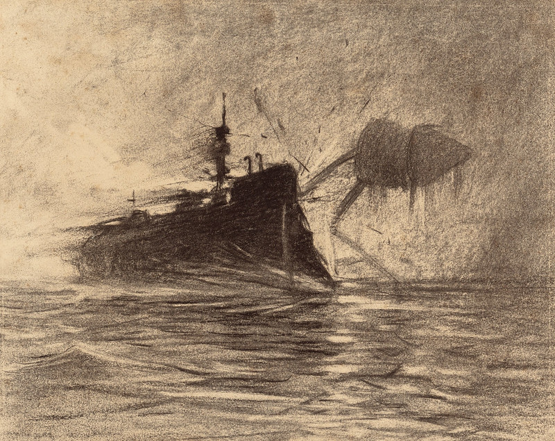 "HENRIQUE ALVIM CORRÊA - Thunderchild Versus Martian, from The War of the Worlds, Belgium edition, 1906 (illustration from Book I- The Coming of the Martians, Chapter XVI- ""The Exodus from London,"")"