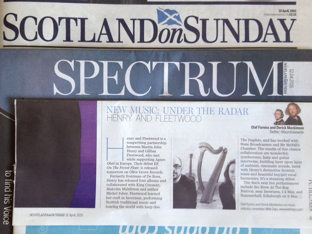 Olaf Furniss and Derick Mackinnon Scotland On Sunday, Spectrum Magazine 12 April 2015, Henry and Fleetwood