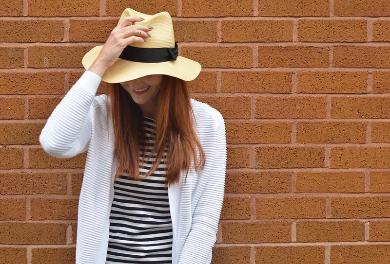 Spring style | Straw fedora, Breton stripes, white ribbed cardigan
