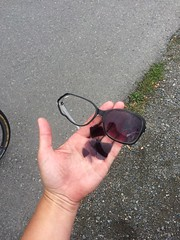 One casulty this trip, RIP sunglasses. Bounced out of my basket into the Burke-Gilman Trail/Latona intersection and a truck ran over them.