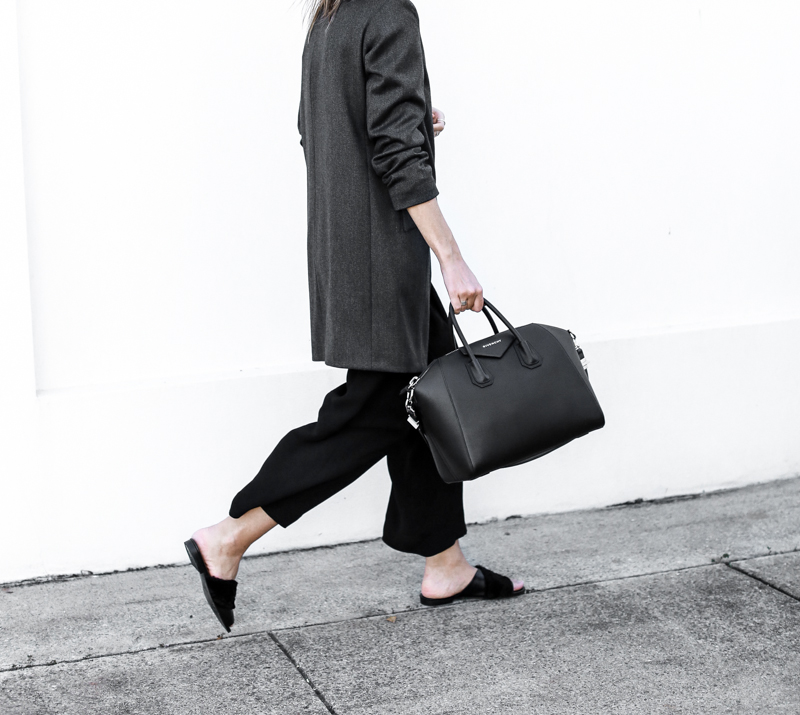 Givenchy Medium Antigona, workwear, street style, grey blazer, modern legacy, cropped pants, slide sandals, fashion blog, outfit (1 of 1)