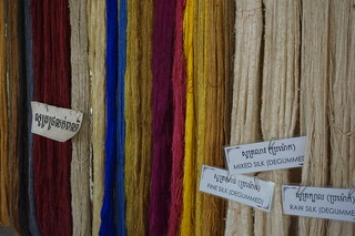 Samples of dyed silk strands