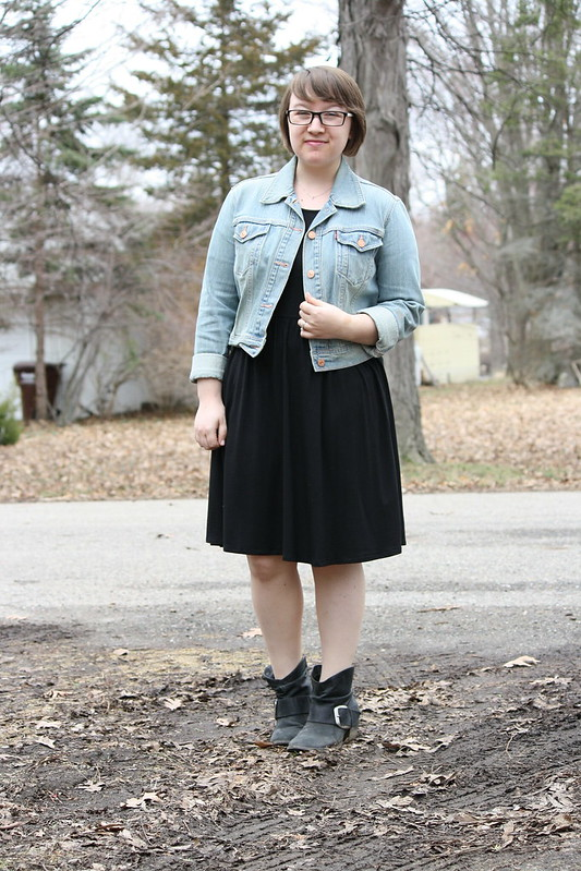 LBD, denim jacket, black booties