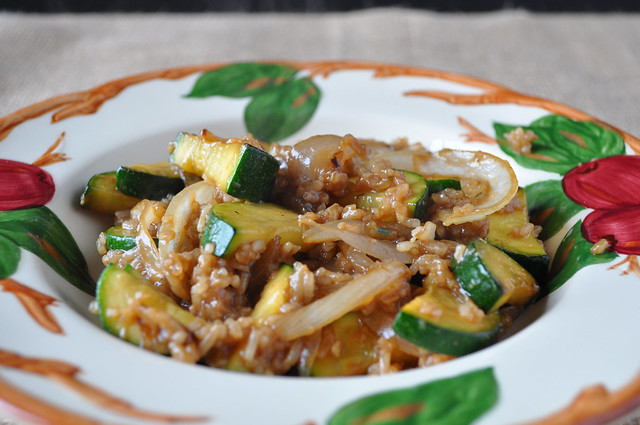 Zucchini and Onion Rice Bowl