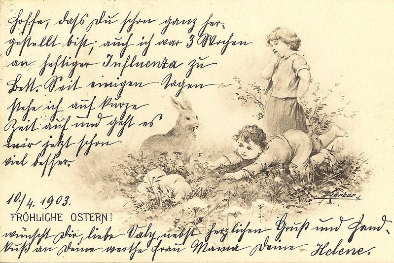 Ostern 1903 Osterkarte Ostergrüße Kurrent Kurrentschrift