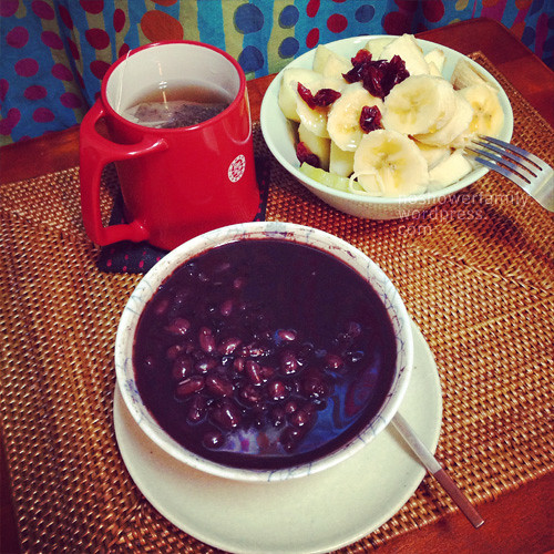 Homemade red bean sweet soup, banana