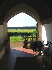 view from the south porch (and my bike)