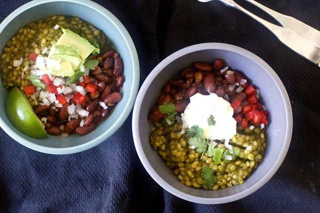 green grain and red bean taco bowl