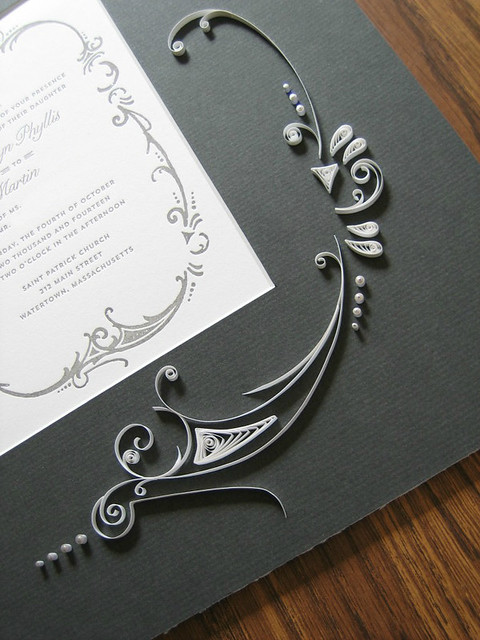 Quilled Art Nouveu Wedding Invitation