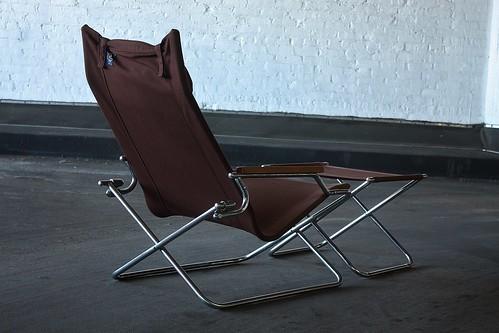 Appealing Shigeru Uchida Japanese Modern Folding Z Chair and Ottoman (Japan 1970s)