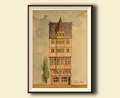 "Frankfurt city Römer Romer rathaus Platz Main City hall Architecture drawing 16x11"" 42x29 cm art original Watercolor painting by Juan bosco"