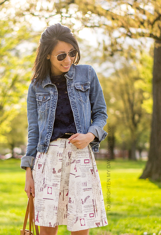 denim jacket, navy lace top, printed pleated skirt