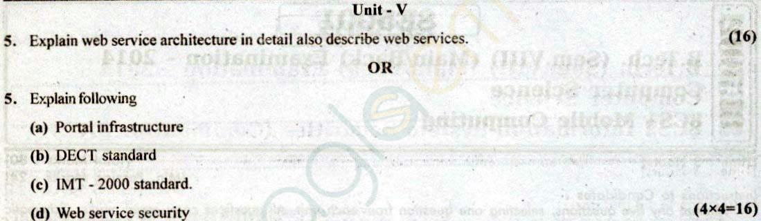 RTU: Question Papers 2014 - 8 Semester - CS - 8E5001