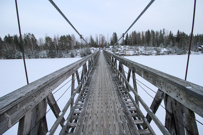suspension bridge, Kokemäki, Finland